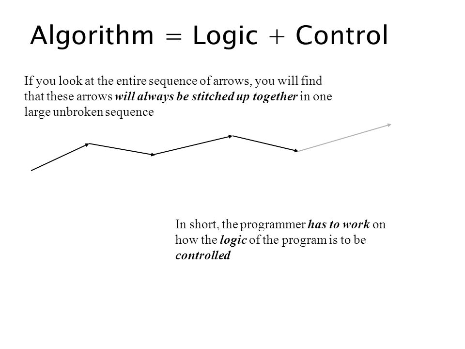 Algorithm = Logic + Control If you look at the entire sequence of arrows, you will find that these arrows will always be stitched up together in one l