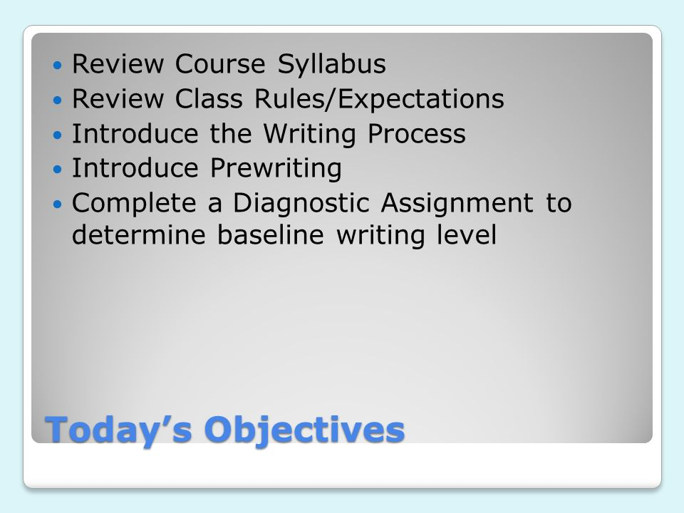 Todays Objectives Review Course Syllabus Review Class Rules/Expectations Introduce the Writing Process Introduce Prewriting Complete a Diagnostic Assi
