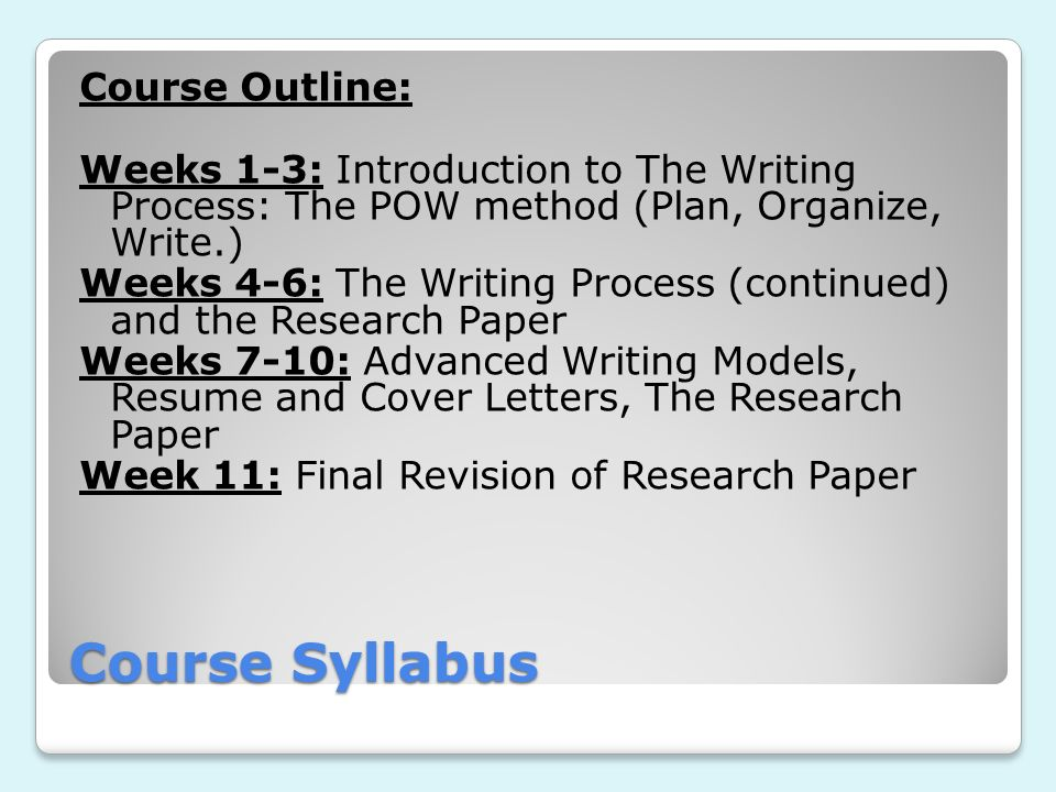 Course Syllabus Course Outline: Weeks 1-3: Introduction to The Writing Process: The POW method (Plan, Organize, Write.) Weeks 4-6: The Writing Process