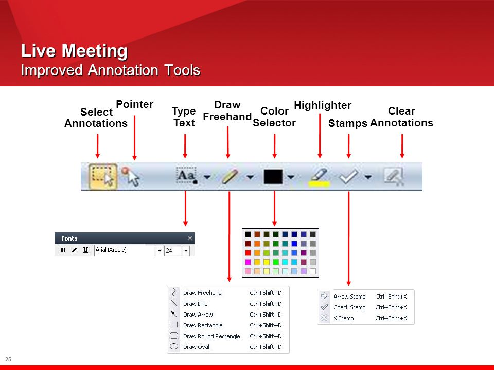25 Live Meeting Improved Annotation Tools Select Annotations Type Text Pointer Draw Freehand Highlighter Stamps Color Selector Clear Annotations