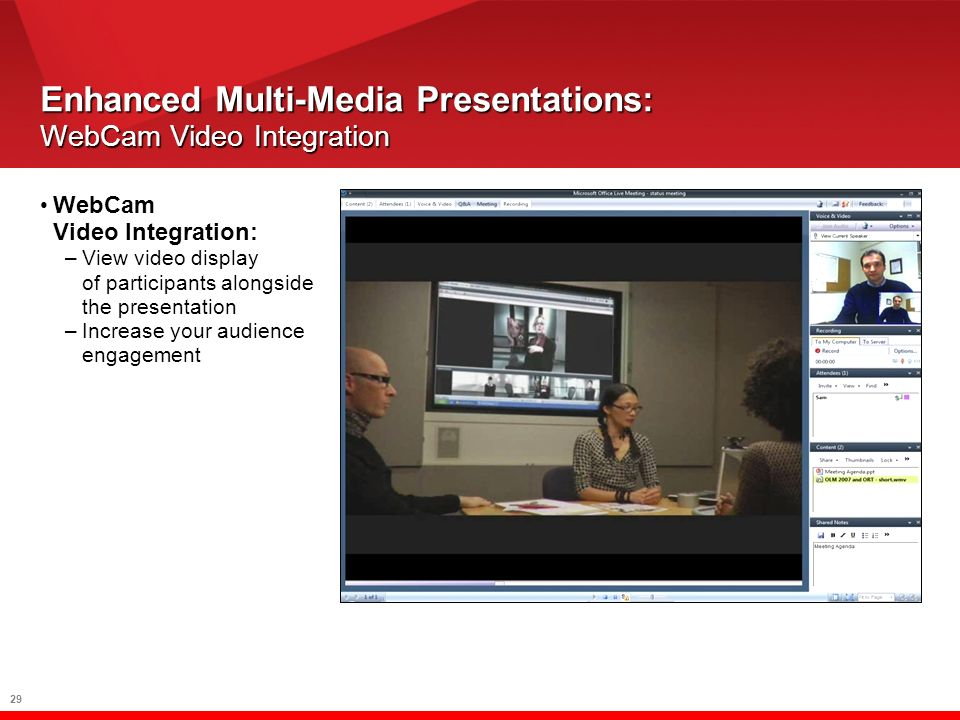 29 Enhanced Multi-Media Presentations: WebCam Video Integration WebCam Video Integration: –View video display of participants alongside the presentation –Increase your audience engagement