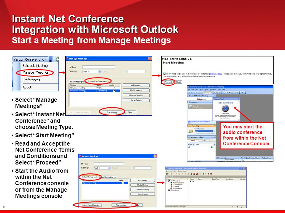 10 Instant Net Conference with Microsoft Live Meeting Features Share Content –Show Slides & other documents to provide visual interest –Share Applications –Share Desktop –Pass control* –Create and edit documents –White Boarding »Capture action items and notes –Share Websites »View online applications »Conduct online surveys –Polling »Gain immediate feedback –Annotations »Draw attention to major points Chat/Q&A –Conduct side conversations without disrupting meeting Web Cam Full screen view –Expanded content view area –Floating windows –Memory of preferred window placement Handouts –Shared with audience before* or during the meeting Shared Notes –Collaboration during meeting and record keeping Feedback –Mood Indicators Language Localization 128 bit SSL encryption –Provide secure meetings Reports *Unavailable on Live Meeting Standard