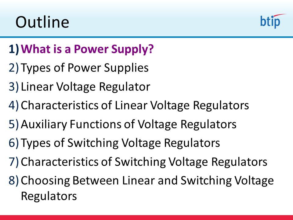 ~ 1.2V V IN V OUT CONTROL V CE ~ 0.5V V BE ~ 0.7V Types of Power Supplies Quasi Low Drop Out Linear Regulator Quasi linear regulators use a single NPN pass transistor ~ 1.2 V drop out