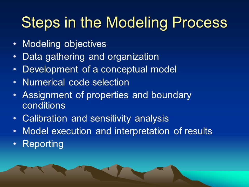 Steps in the Modeling Process Modeling objectives Data gathering and organization Development of a conceptual model Numerical code selection Assignmen