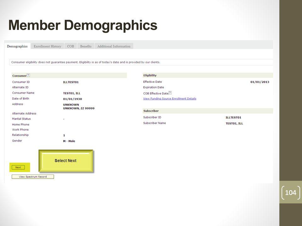 Member Demographics 104