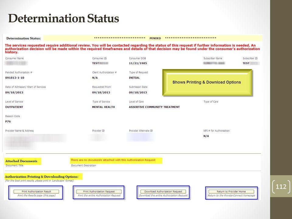 Determination Status 112