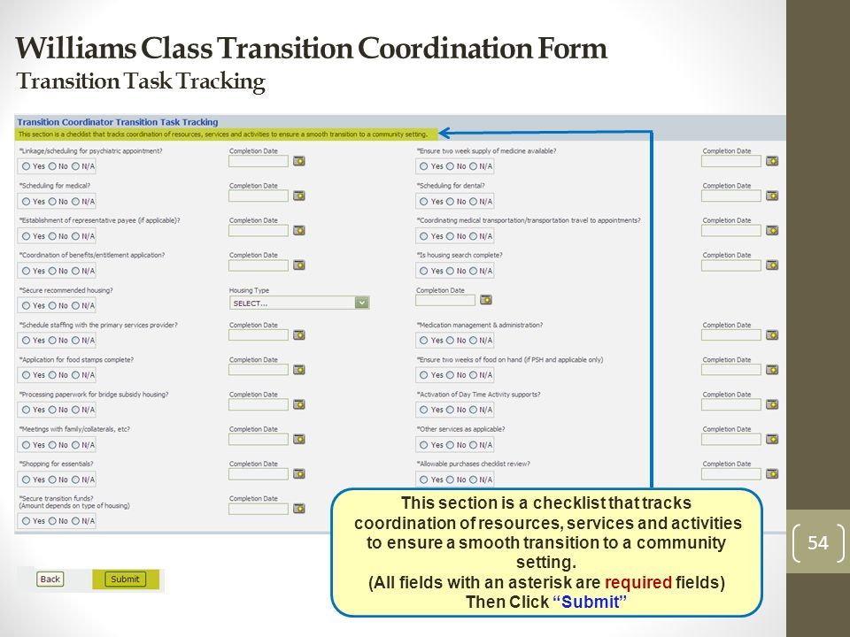 Williams Class Transition Coordination Form Transition Task Tracking 54 This section is a checklist that tracks coordination of resources, services an