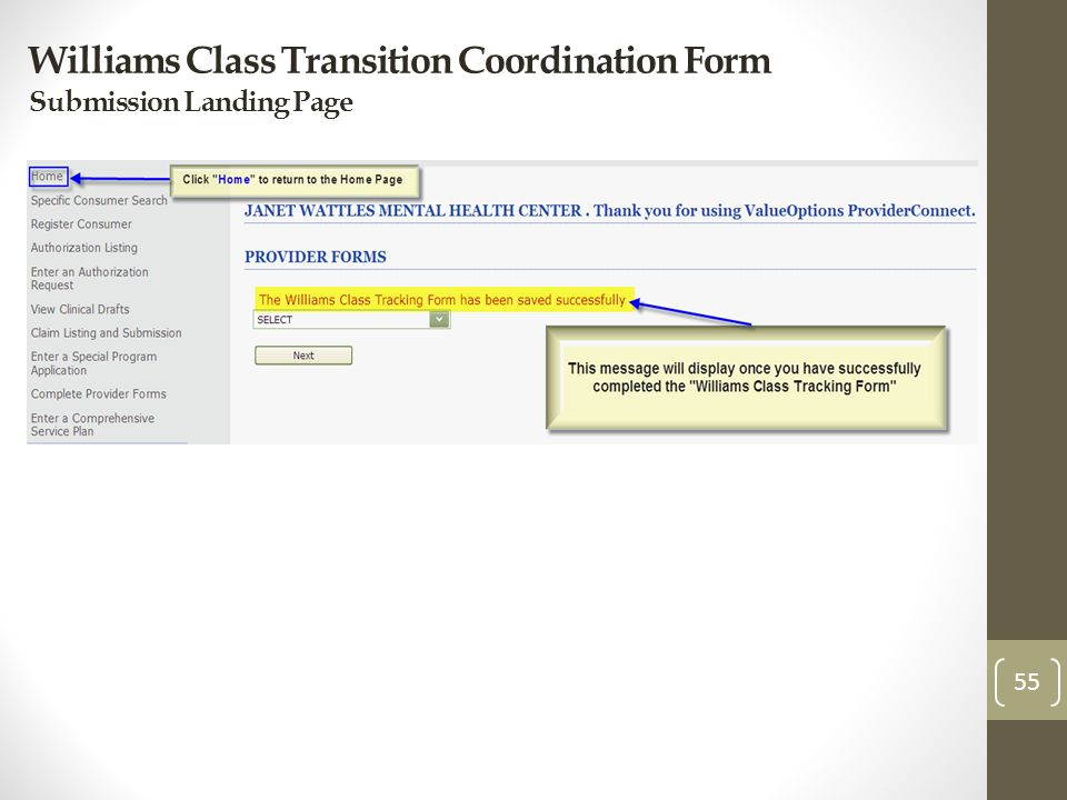 Williams Class Transition Coordination Form Submission Landing Page 55