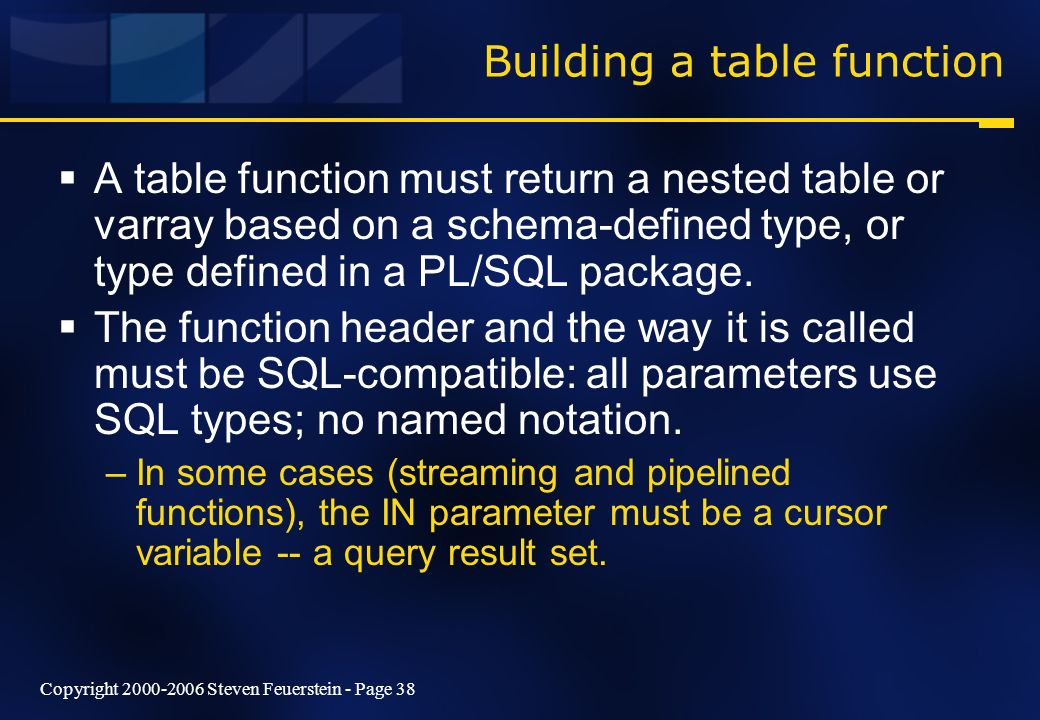 Copyright 2000-2006 Steven Feuerstein - Page 38 Building a table function A table function must return a nested table or varray based on a schema-defi