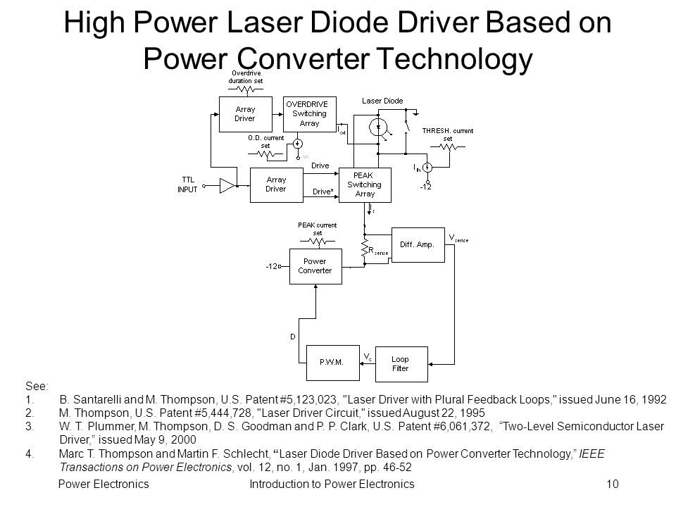 Introduction to Power ElectronicsPower Electronics10 High Power Laser Diode Driver Based on Power Converter Technology See: 1.B. Santarelli and M. Tho