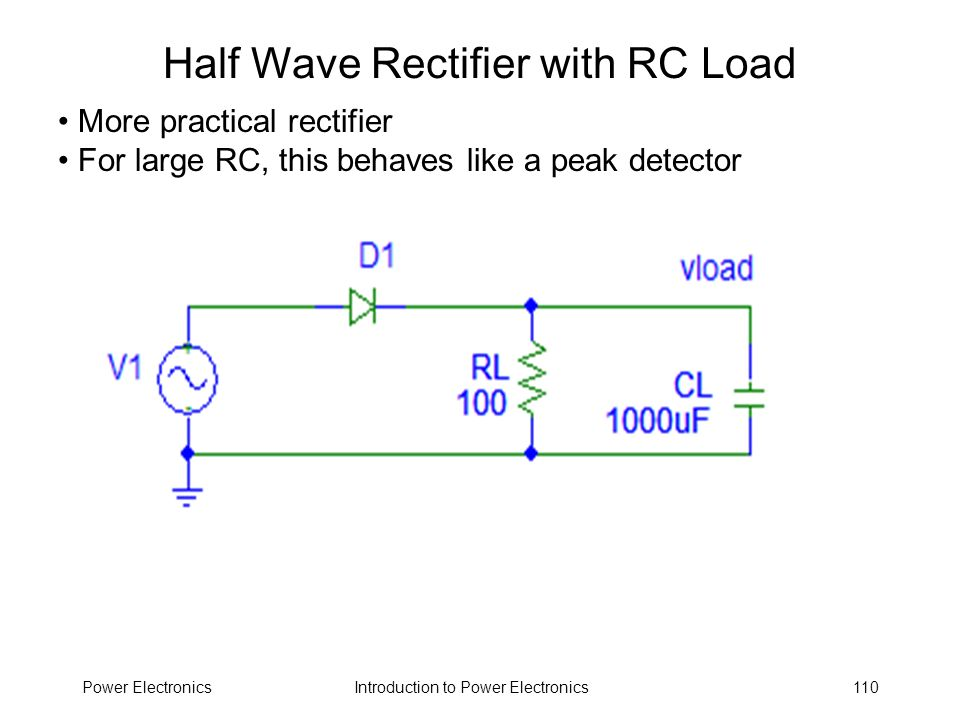 Introduction to Power ElectronicsPower Electronics110 Half Wave Rectifier with RC Load More practical rectifier For large RC, this behaves like a peak