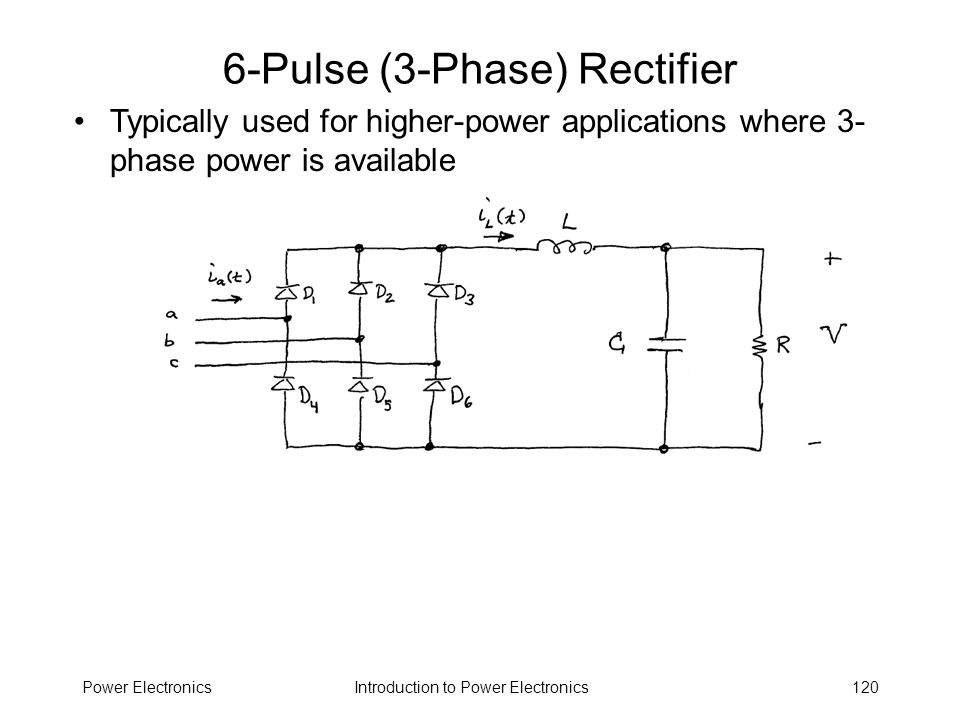 Introduction to Power ElectronicsPower Electronics120 6-Pulse (3-Phase) Rectifier Typically used for higher-power applications where 3- phase power is