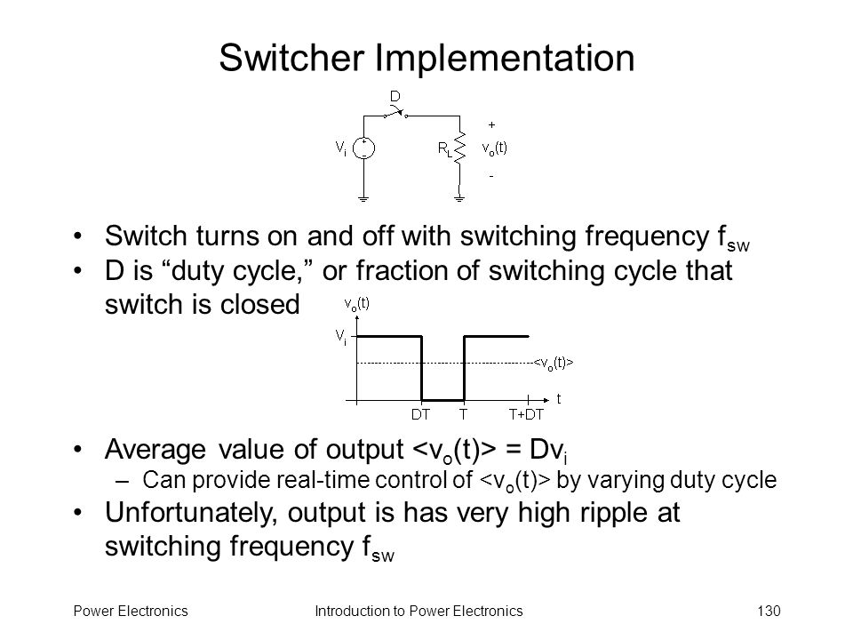 Introduction to Power ElectronicsPower Electronics130 Switcher Implementation Switch turns on and off with switching frequency f sw D is duty cycle, o