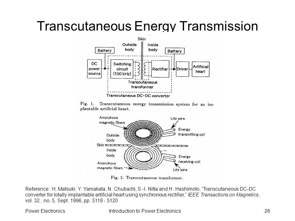 Introduction to Power ElectronicsPower Electronics26 Transcutaneous Energy Transmission Reference: H. Matsuki, Y. Yamakata, N. Chubachi, S.-I. Nitta a