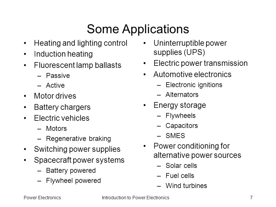 Introduction to Power ElectronicsPower Electronics38 Selected History of Power Switching Devices 1831 --- Transformer action demonstrated by Michael Faraday 1880s: modern transformer invented Reference: J.