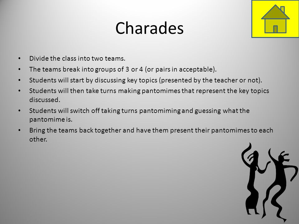 Charades Divide the class into two teams. The teams break into groups of 3 or 4 (or pairs in acceptable). Students will start by discussing key topics