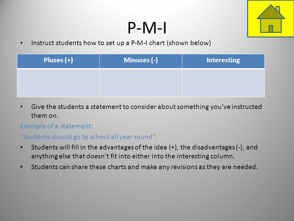 P-M-I Instruct students how to set up a P-M-I chart (shown below) Give the students a statement to consider about something youve instructed them on.