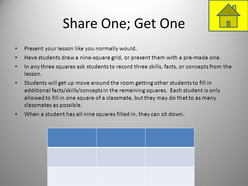 Share One; Get One Present your lesson like you normally would. Have students draw a nine-square grid, or present them with a pre-made one. In any thr