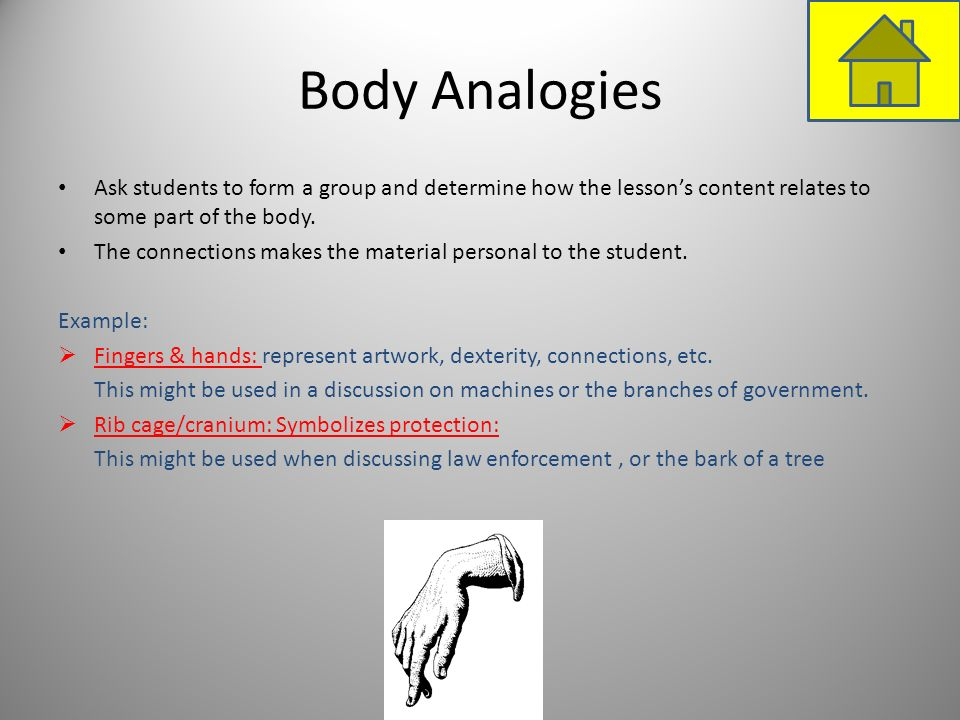 Body Analogies Ask students to form a group and determine how the lessons content relates to some part of the body. The connections makes the material