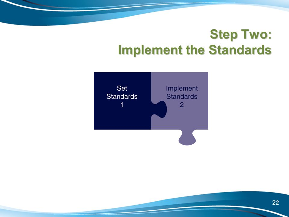 22 Step Two: Implement the Standards