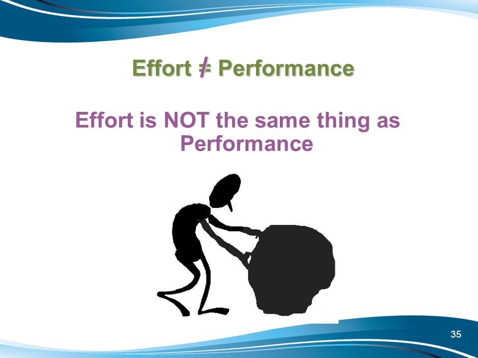 35 Effort = Performance Effort is NOT the same thing as Performance /