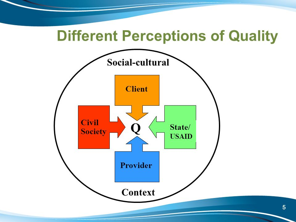 5 Different Perceptions of Quality Client Provider State/ USAID Civil Society Social-cultural Context Q