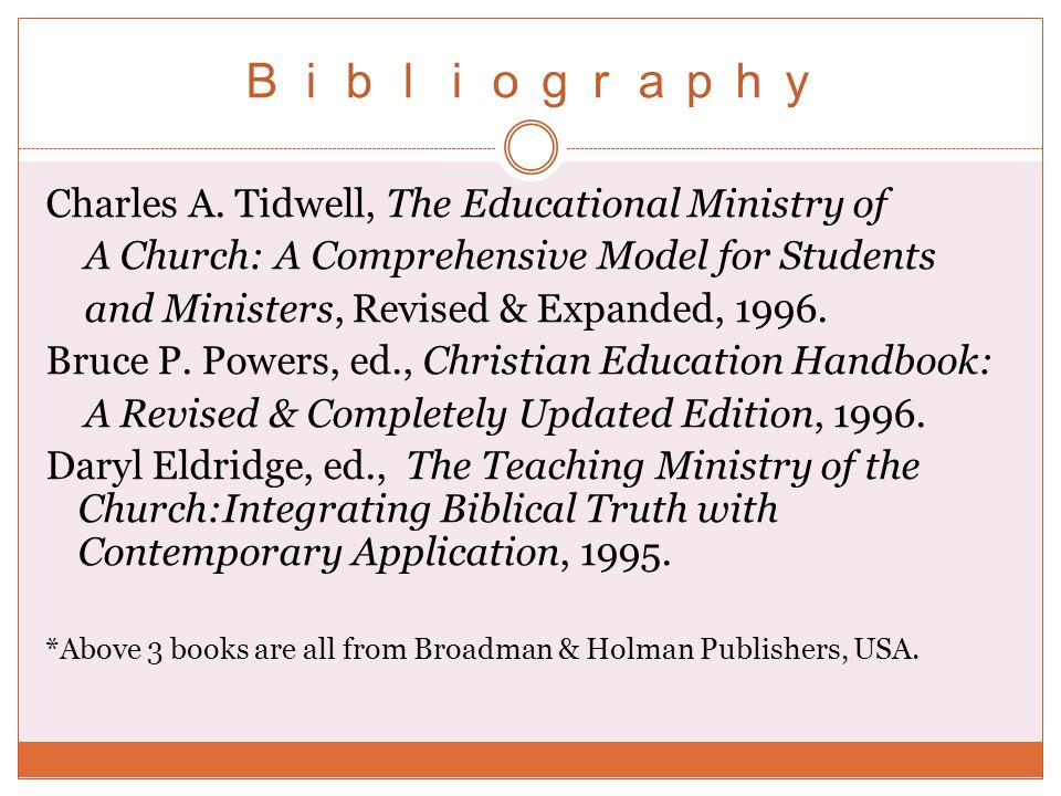 Charles A. Tidwell, The Educational Ministry of A Church: A Comprehensive Model for Students and Ministers, Revised & Expanded, 1996. Bruce P. Powers,