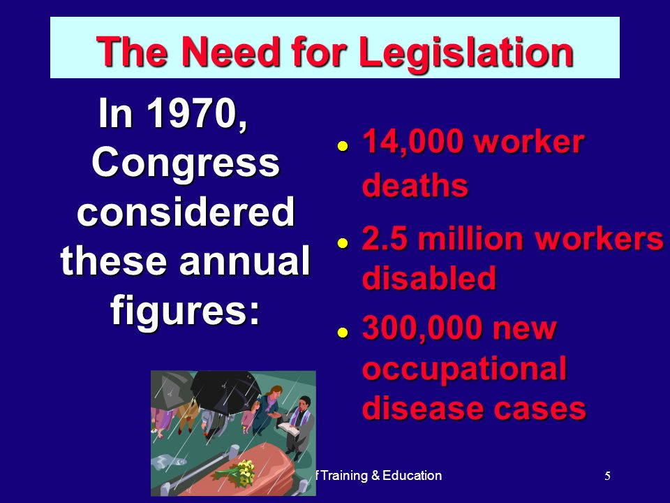 OSHA Office of Training & Education5 The Need for Legislation In 1970, Congress considered these annual figures: l 14,000 worker deaths l 2.5 million