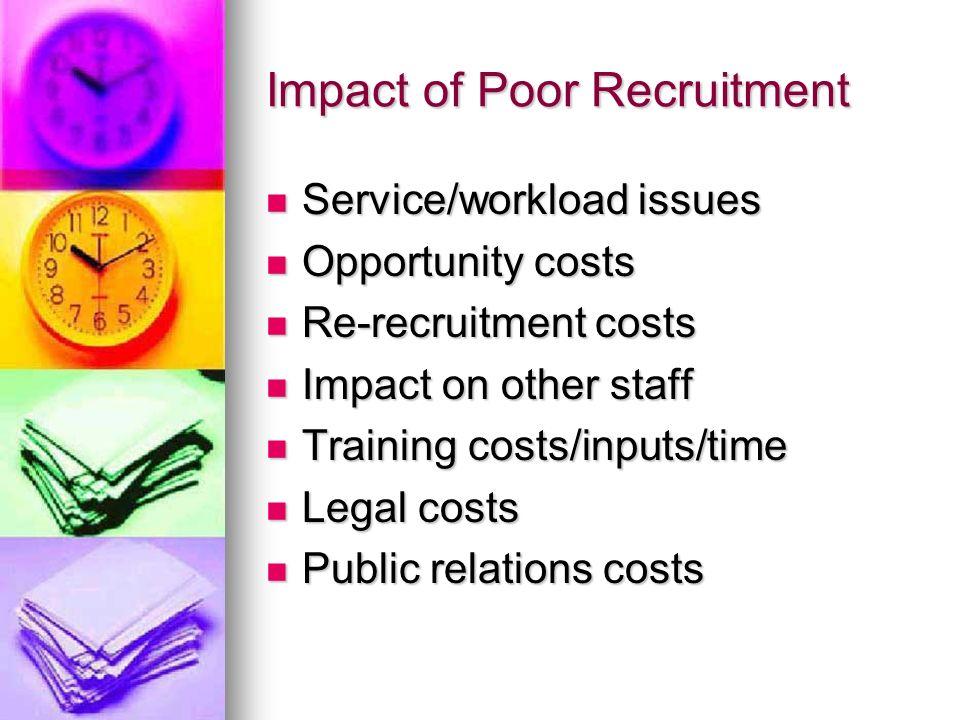 Impact of Poor Recruitment Service/workload issues Service/workload issues Opportunity costs Opportunity costs Re-recruitment costs Re-recruitment cos