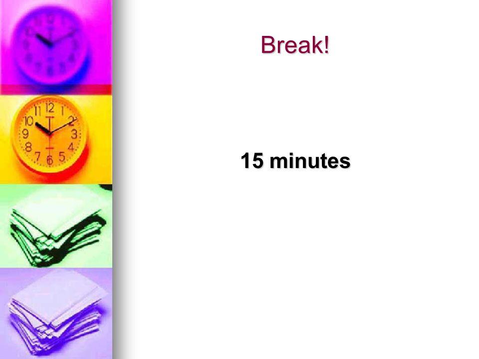 Break! 15 minutes