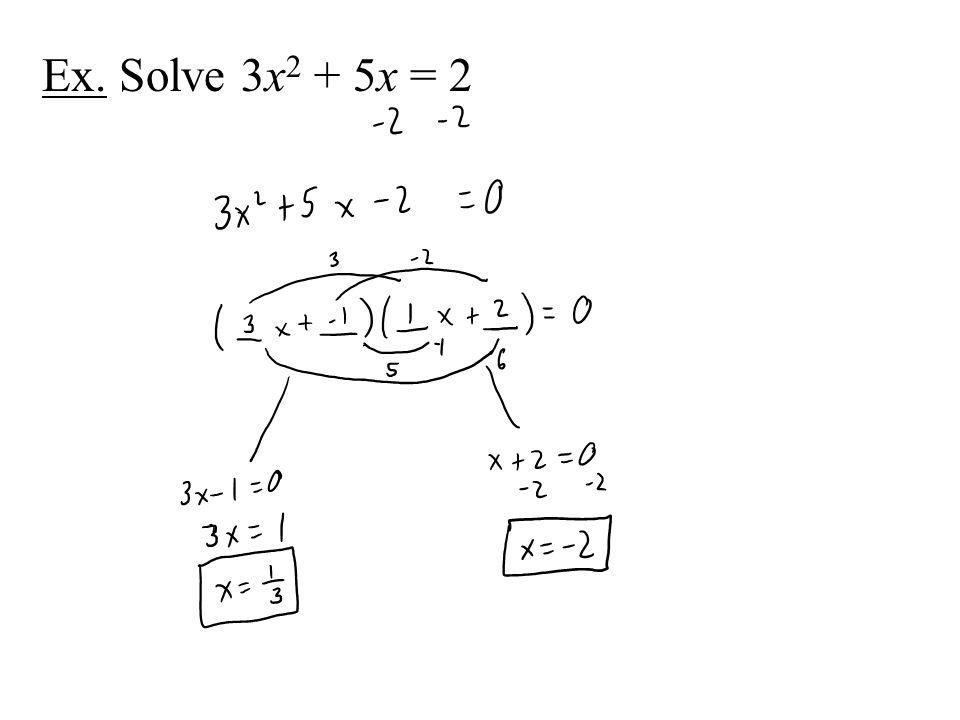 Ex. Solve 3x 2 + 5x = 2