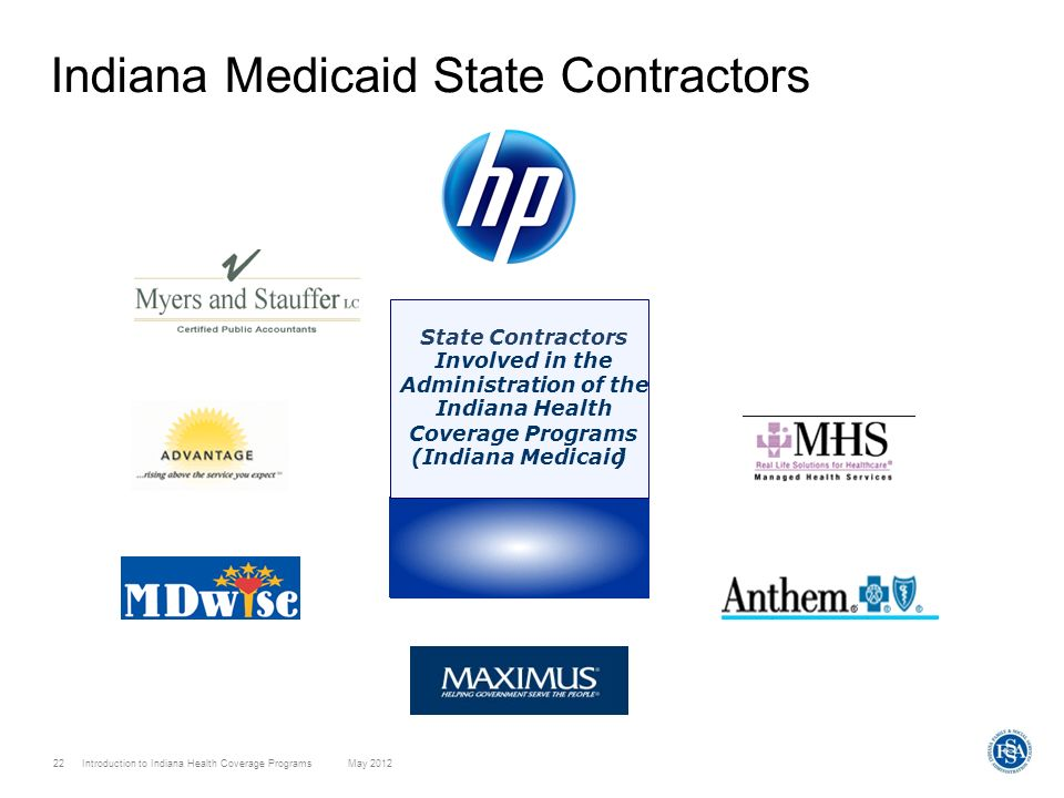 22 Introduction to Indiana Health Coverage Programs May 2012 Indiana Medicaid State Contractors State Contractors Involved in the Administration of th