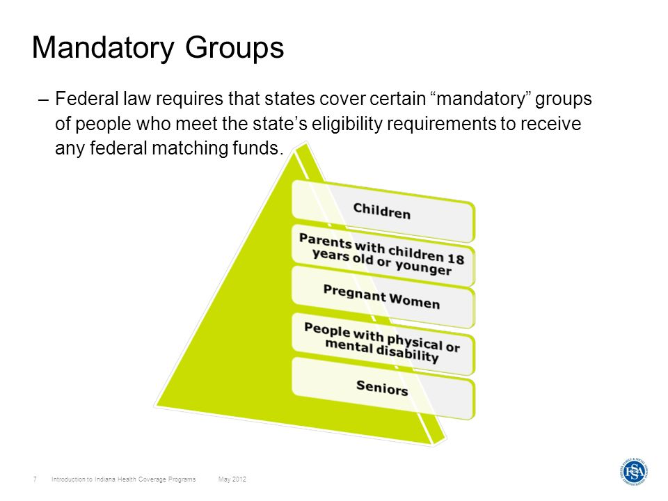 Introduction to Indiana Health Coverage Programs May 2012 7 Mandatory Groups –Federal law requires that states cover certain mandatory groups of peopl