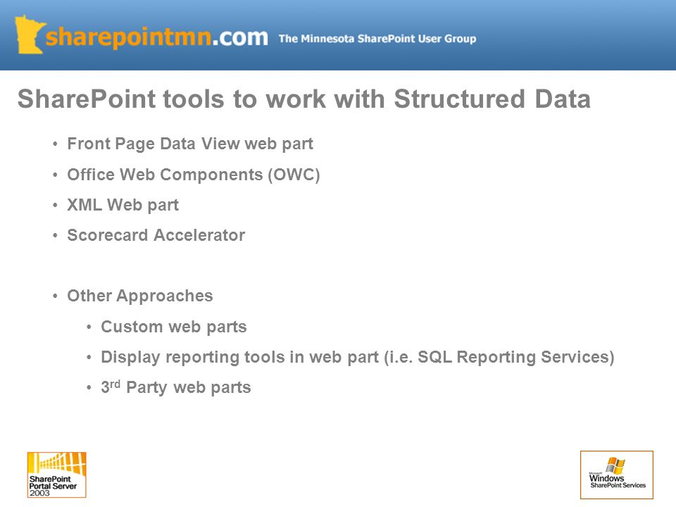 Front Page Data View web part Office Web Components (OWC) XML Web part Scorecard Accelerator Other Approaches Custom web parts Display reporting tools
