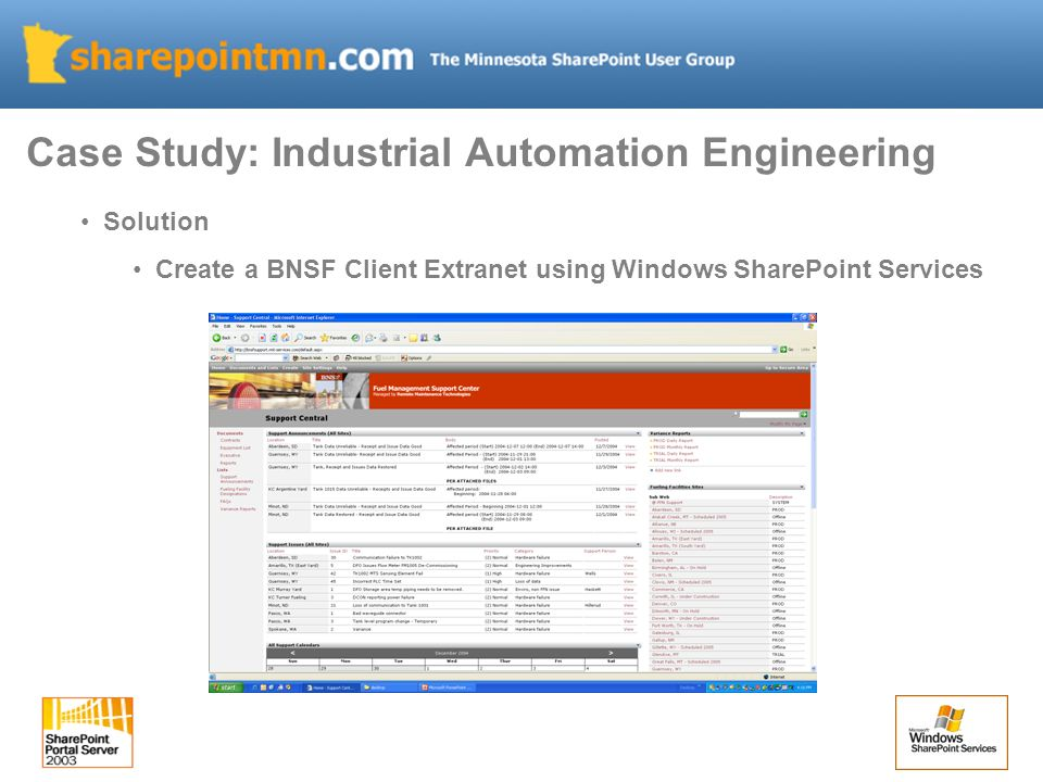 Solution Create a BNSF Client Extranet using Windows SharePoint Services Case Study: Industrial Automation Engineering