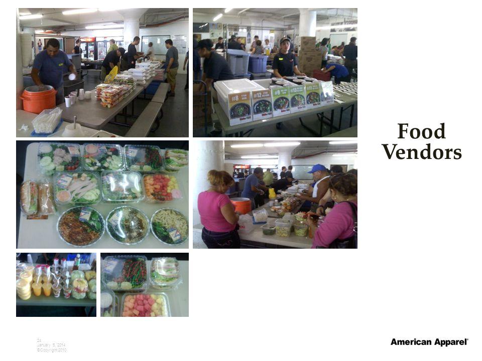 24 January 5, 2014 ©Copyright 2010 Food Vendors