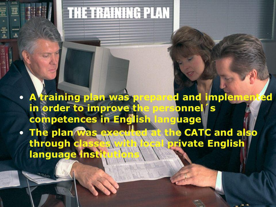 THE TRAINING PLAN A training plan was prepared and implemented in order to improve the personnel´s competences in English language The plan was execut