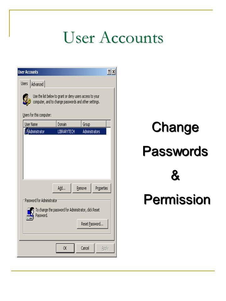User Accounts ChangePasswords& Permission Permission