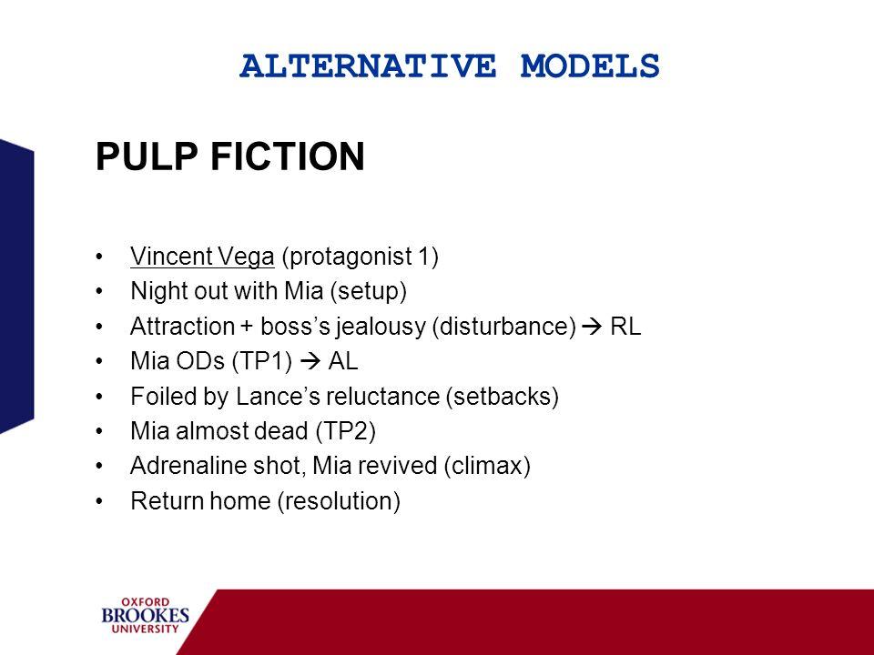 ALTERNATIVE MODELS PULP FICTION Vincent Vega (protagonist 1) Night out with Mia (setup) Attraction + bosss jealousy (disturbance) RL Mia ODs (TP1) AL