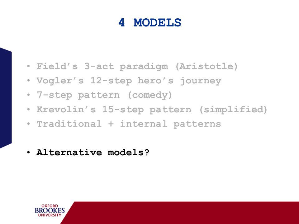4 MODELS Fields 3-act paradigm (Aristotle) Voglers 12-step heros journey 7-step pattern (comedy) Krevolins 15-step pattern (simplified) Traditional +