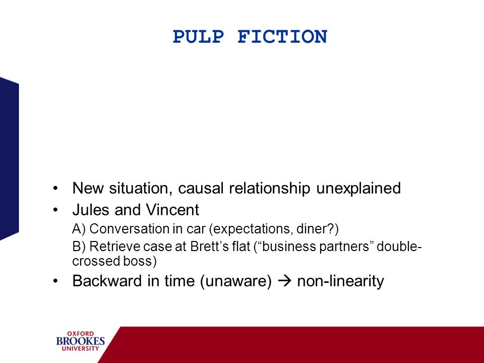 PULP FICTION New situation, Marsellus and Butch (paid to throw boxing match), BUT causal link… Jules and Vincent, connection between characters 1) Vincents episode (later) 2) Butchs episode (later) Case + different clothes Forward in time (aware) non-linearity confirmed