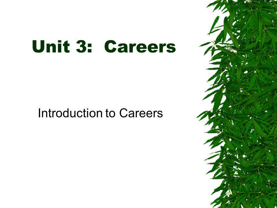 Unit 3: Careers Introduction to Careers