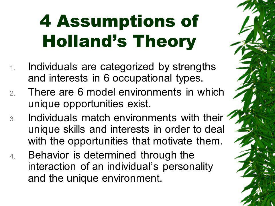 4 Assumptions of Hollands Theory 1.