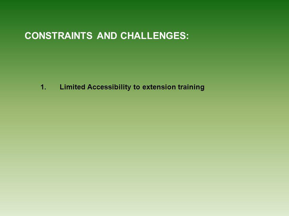 CONSTRAINTS AND CHALLENGES: 1.Limited Accessibility to extension training
