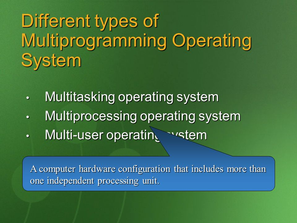 Different types of Multiprogramming Operating System Multitasking operating system Multitasking operating system Multiprocessing operating system Mult