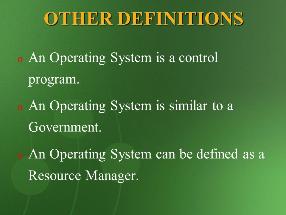 COMPUTER SYSTEM Physical Devices Microprogramming Machine Language Operating System Compliers Banking System Airline System Editors Command Interpreter A Computer system consists of Hardware, System Programs and Application Programs The OS runs in kernel mode but the compilers and editors run in user mode.