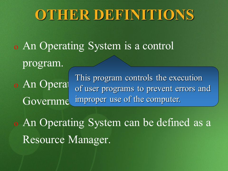 COMPUTER SYSTEM Physical Devices Microprogramming Machine Language Operating System Compliers Banking System Airline System Editors Command Interpreter A Computer system consists of Hardware, System Programs and Application Programs These programs are written by the users to solve their particular problems, such as commercial data processing, engineering calculations, or game playing.