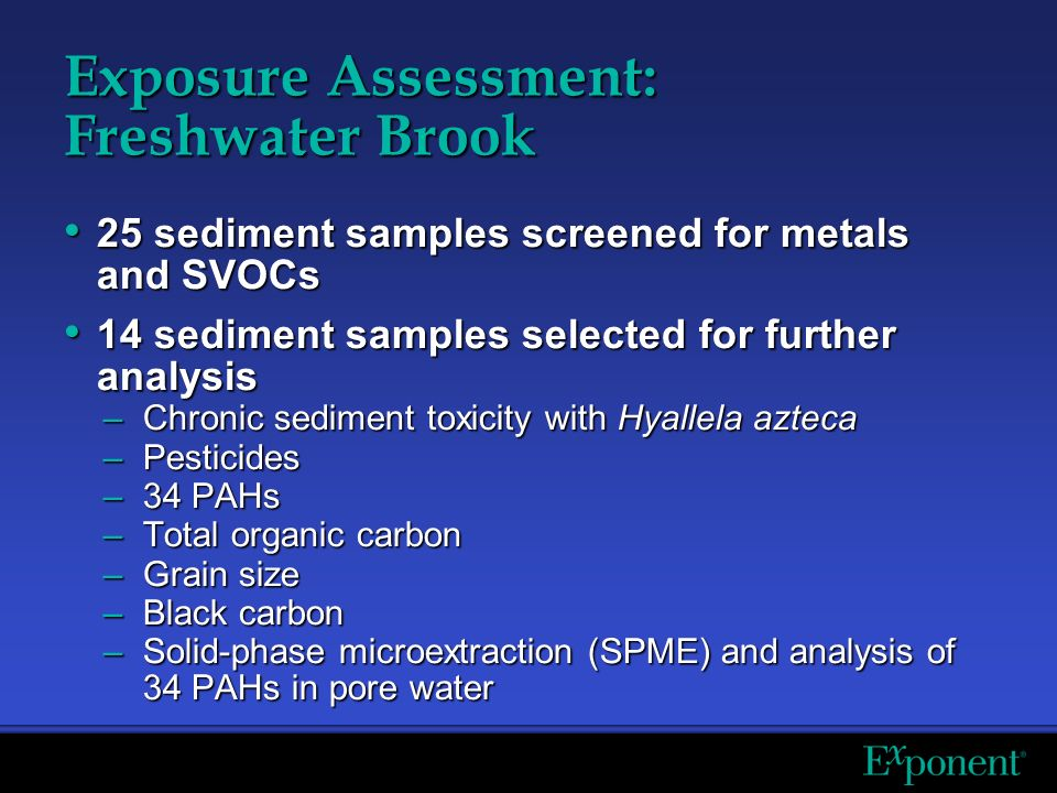 Exposure Assessment: Freshwater Brook 25 sediment samples screened for metals and SVOCs 25 sediment samples screened for metals and SVOCs 14 sediment samples selected for further analysis 14 sediment samples selected for further analysis –Chronic sediment toxicity with Hyallela azteca –Pesticides –34 PAHs –Total organic carbon –Grain size –Black carbon –Solid-phase microextraction (SPME) and analysis of 34 PAHs in pore water