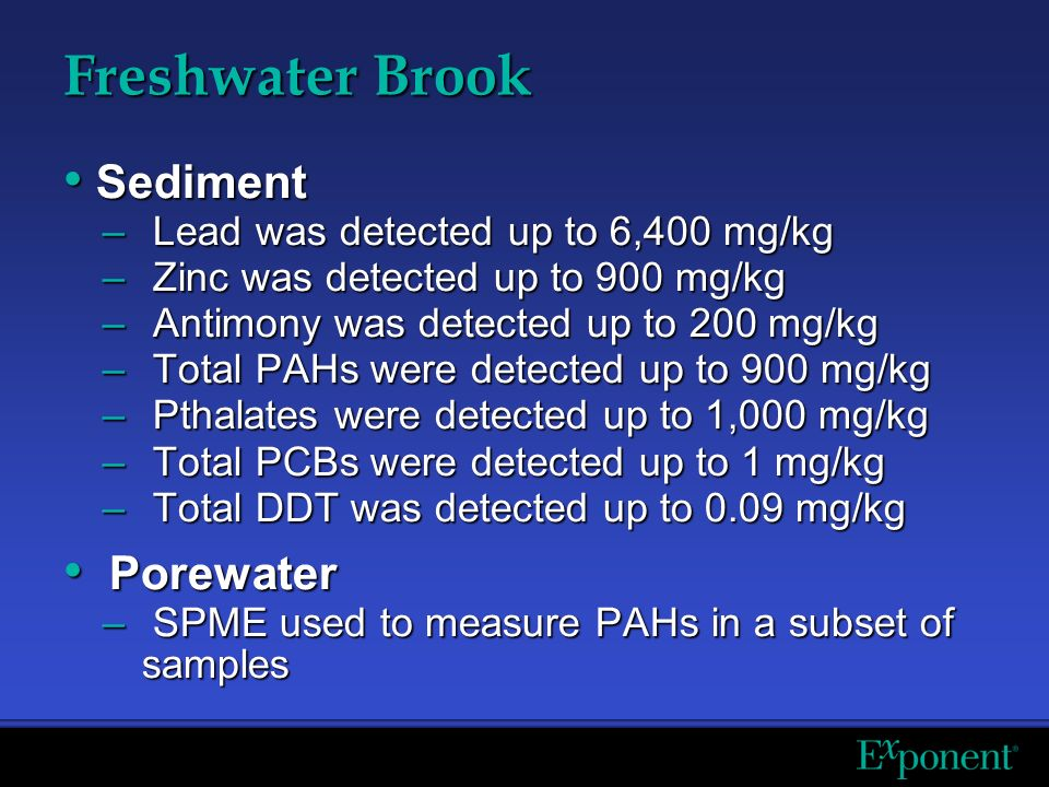 Freshwater Brook Sediment Sediment – Lead was detected up to 6,400 mg/kg – Zinc was detected up to 900 mg/kg – Antimony was detected up to 200 mg/kg – Total PAHs were detected up to 900 mg/kg – Pthalates were detected up to 1,000 mg/kg – Total PCBs were detected up to 1 mg/kg – Total DDT was detected up to 0.09 mg/kg Porewater Porewater – SPME used to measure PAHs in a subset of samples