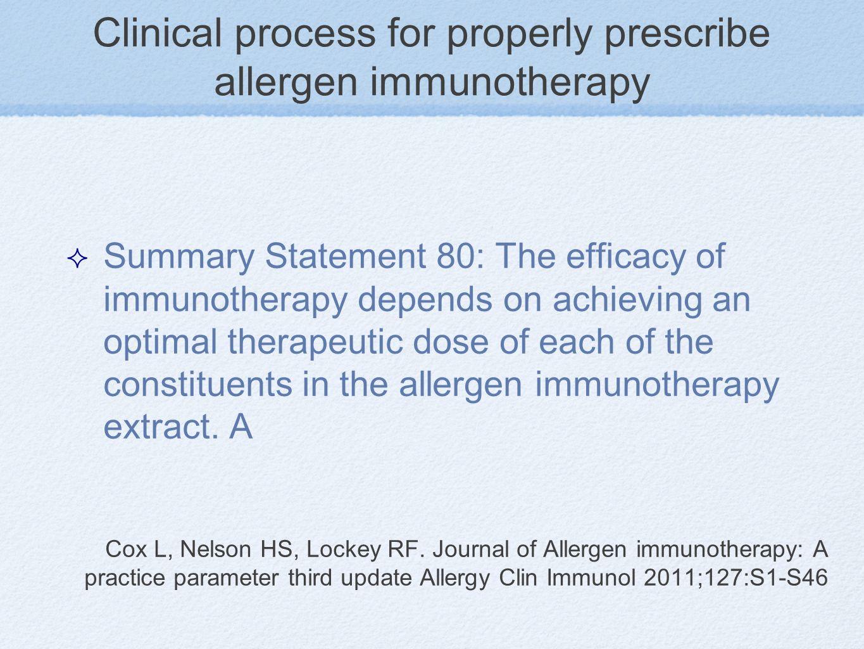 Cox L, Nelson HS, Lockey RF. Journal of Allergen immunotherapy: A practice parameter third update Allergy Clin Immunol 2011;127:S1-S46 Summary Stateme